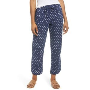 Caslon Drawstring Pants Print Navy Blue